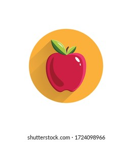 apple colorful flat icon with long shadow. red apple flat icon