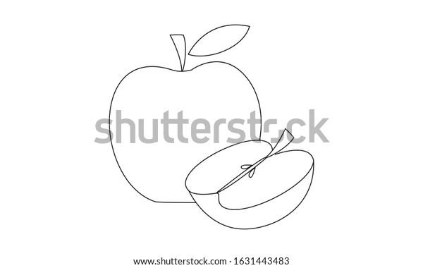 Apple Coloring Book Fruit Educate Kids Stock Vector Royalty Free 1631443483
