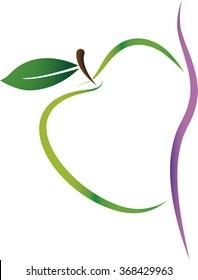 Apple company logo health and dietary green and purple