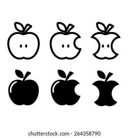 Apple, apple core, bitten, half vector icons