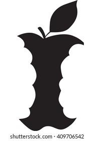 Apple Core Eaten, Silhouette, Black