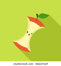 Apple Core in Flat style with shadow on green background. Vector Illustration