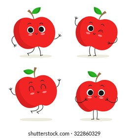 Apple. Cute fruit vector character set isolated on white