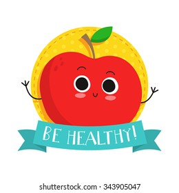 """Apple, cute fruit vector character bagde, bright illustration on dotted round background with """"Be healthy!"""" slogan"""