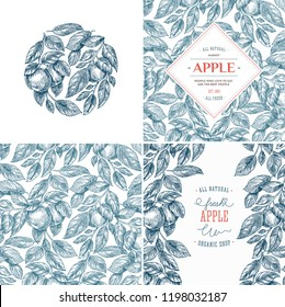 Apple design template collection. Banners, pattern, composition.