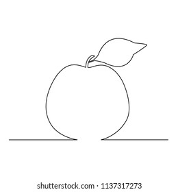 An apple is drawn by a single line on a white background. Continuous line drawing. Vector illustration