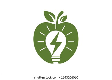 Apple and electricity logo sign symbol in flat style on white background