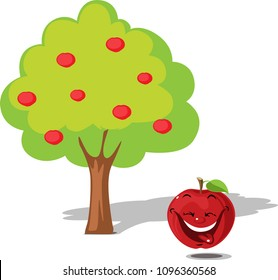 Apple falling from tree - flat design illustration vector cartoon