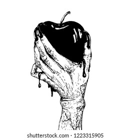 Apple in female hand isolated hand drawn line art and dot work vector illustration.