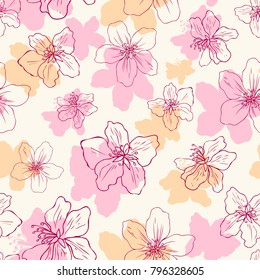 Apple flower blossom hand drawn isolated on light background, seamless vector floral pattern, pink sakura outline art for greeting card, package design cosmetics, wedding invitation, wallpaper beauty