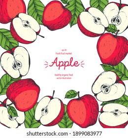 Apple frame, hand drawn illustration. Apple vector illustration. Apple design template . Vintage frame.