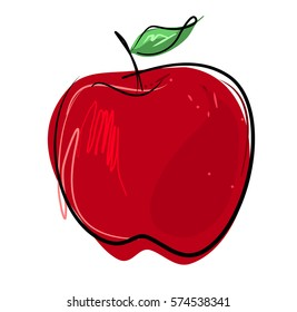 Apple Free hand vector drawing