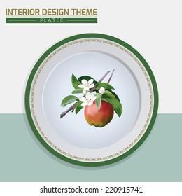 Apple Fruit & Blossom dinner plate design vector template. Home interior decor element. Dinner plate with floral motif &decorative border. Modern interior design element. Vector illustration. Editable