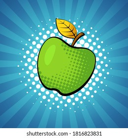Apple fruit in bright colorful pop-art style.