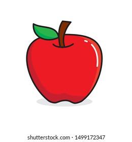 Apple fruit clip art, single apple vector illustration isolated on white background, apple cartoon