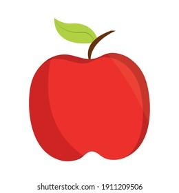 apple fruit fresh nutrition icon flat design vector illustration