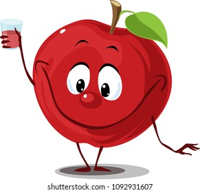 Apple fruit with juice glass -  funny cartoon flat design vector illustration