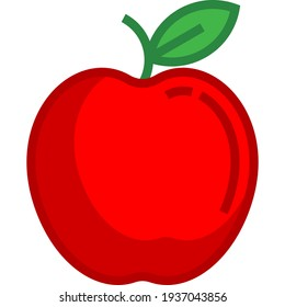 Apple fruit for a more natural life. Fruit vector drawing. Apple icon.