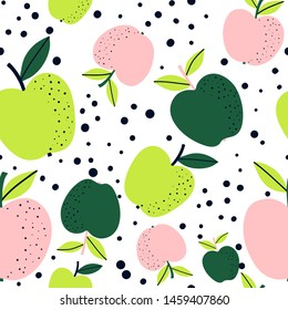 Apple fruit seamless pattern, abstract repeated background. For paper, cover, fabric, gift wrap, wall art, interior décor. Simple surface pattern design.  Vector