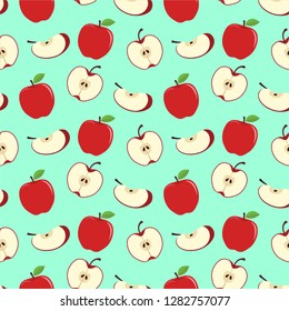 Apple fruit seamless pattern in vector flat style