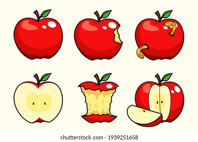 apple fruit set collections cartoon