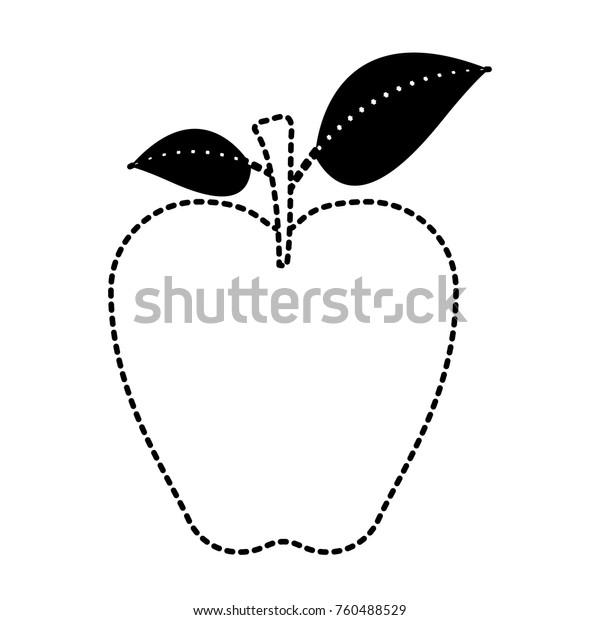apple fruit with stem and leaves in black dotted silhouette