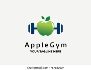 Apple Gym Logo Template Design Vector, Emblem, Design Concept, Creative Symbol, Icon