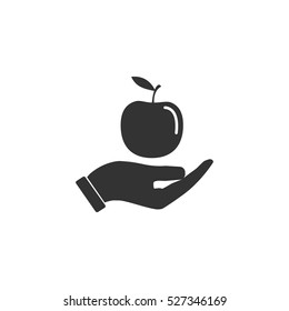 Apple in hand icon flat. Illustration isolated vector sign symbol