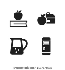 apple icon. 4 apple vector icons set. book and apple, lunchbox and mac pro icons for web and design about apple theme