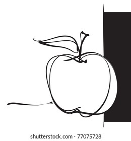 apple icon, freehand drawing vector