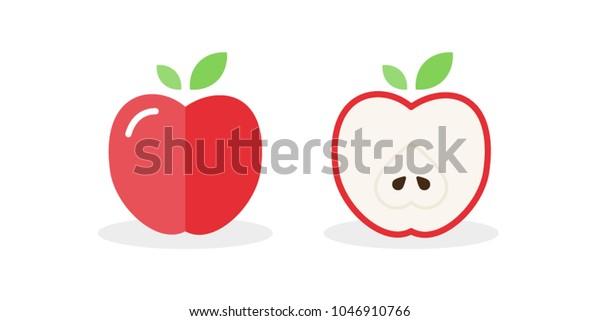 Apple Icon Fresh Fruit Whole Apple Stock Vector (Royalty