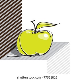 apple icon, geometric background, vector