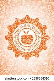 apple icon inside abstract emblem, orange mosaic background