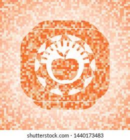 apple icon inside abstract orange mosaic emblem