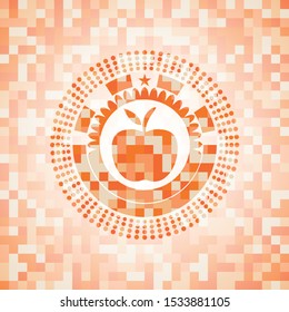 apple icon inside abstract orange mosaic emblem with background