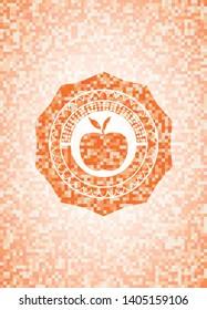 apple icon inside orange mosaic emblem with background
