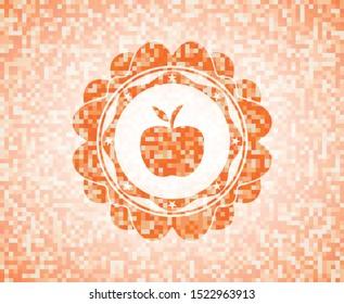 apple icon inside orange mosaic emblem