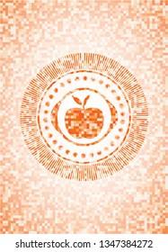 apple icon inside orange tile background illustration. Square geometric mosaic seamless pattern with emblem inside.