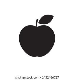 Apple Icon isolated on white background. Black and white apple symbol flat style for your web site design and logo, app, UI. Vector illustration
