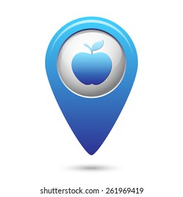 Apple icon on blue map pointer. Vector illustration