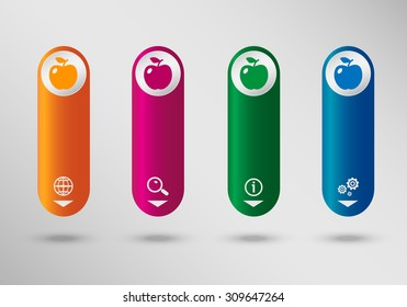 Apple Icon on vertical infographic design template, can be used for workflow layout, web design.