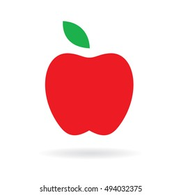 Apple icon. Vector illustration. Red apple with green leaf logo.