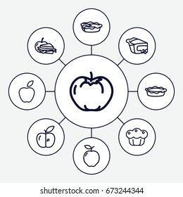 Apple icons set. set of 9 apple outline icons such as