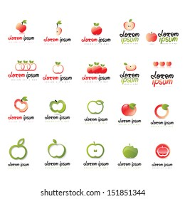 Apple Icons Set - Isolated On White Background - Vector Illustration, Graphic Design Editable For Your Design. Apple Logo