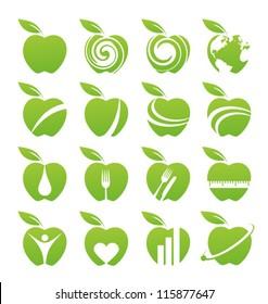 Apple icons, symbols, signs and logos set