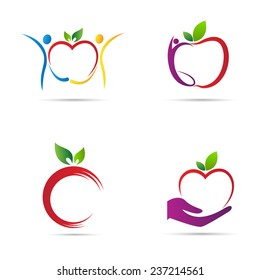 Apple icons vector design represents fruit logos, signs and symbols.