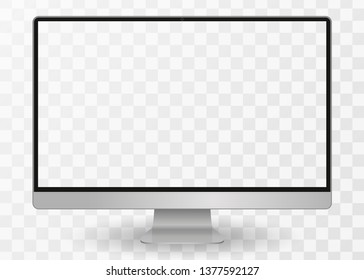 Apple Imac computer, desktop pc vector mocup. Imac monitor display with blank screen isolated on transparent background. Imac Vector