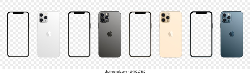 Apple iPhone 12 Pro Max in four colors. Iphone mockup set with blank screen. Vector illustration isolated on transparent background. Vinnytsia, Ukraine - March 21, 2021