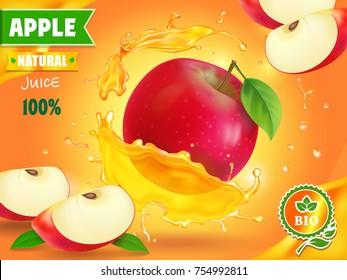 Apple juice advertising. Fruit refreshing drink ad.