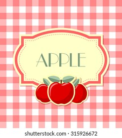 Apple label in retro style on squared background